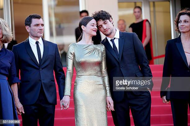 """Actor Alex Brendemuhl, actress Marion Cotillard and actor Louis Garrel attend the """"From The Land Of The Moon """" premiere during the 69th annual Cannes..."""