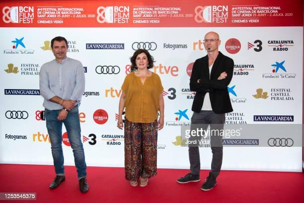 Actor Alex Brendemuhl BCN Film Festival Director Conxita Casanova and film director Gunter Schwaiger attend El Buzo premiere photocall during BCN...