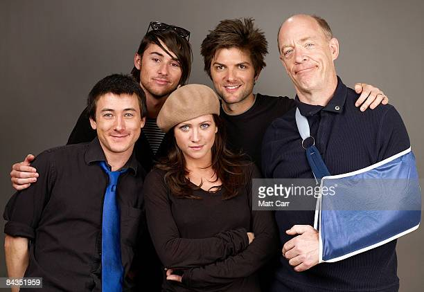 Actor Alex Frost writer/director Lee Toland actress Brittany Snow actor Adam Scott and actor JK Simmons of the film 'The Vicious Kind' poses for a...