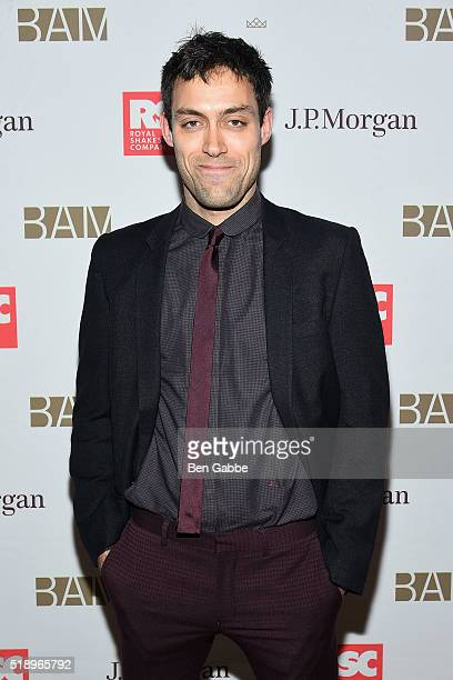 "Actor Alex Hassell attends the Benefit Celebration Honoring Royal Shakespeare Company's ""King & Country"" at BAM Lepercq Space on April 3, 2016 in New..."