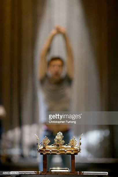 RSC actor Alex Hassell goes through a warm up routine before the start of the matinee performance of Henry IV Part 1 in which he plays Prince Hal on...
