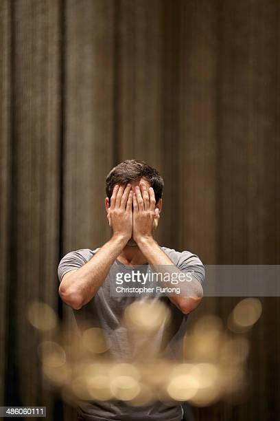 Actor Alex Hassell goes through a warm up routine before the start of the matinee performance of Henry IV Part 1 in which he plays Prince Hal on...