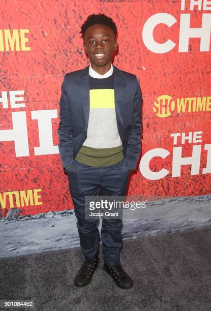 Actor Alex Hibbert attends the premiere of Showtime's The Chi at Downtown Independent on January 3 2018 in Los Angeles California