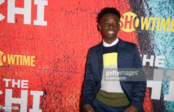 Actor Alex Hibbert attends the world premiere of the new Showtime drama The Chi January 3 2018 at the Downtown Independent in Los Angeles California