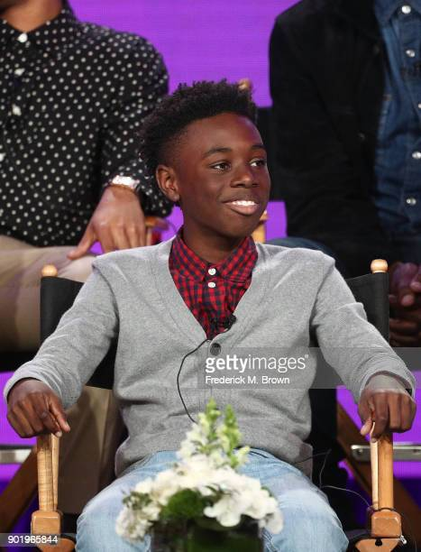 Actor Alex Hibbert of the television show The CHI speaks onstage during the CBS/Showtime portion of the 2018 Winter Television Critics Association...