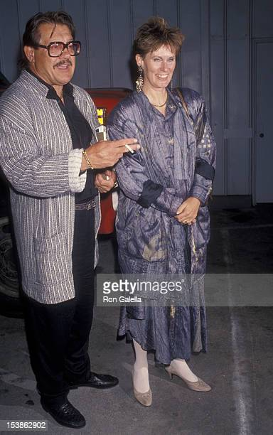 Actor Alex Karras and actress Susan Clark attend the birthday party for Stan Sheinbaum on June 12 1990 at the Barker Hanger at Santa Monica Airport...