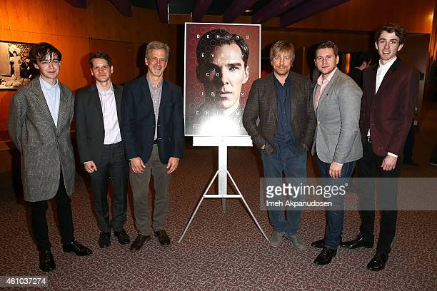 Actor Alex Lawther screenwriter Graham Moore editor Billy Goldenberg director Morten Tyldum and actors Allen Leech and Matthew Beard attend a QA...