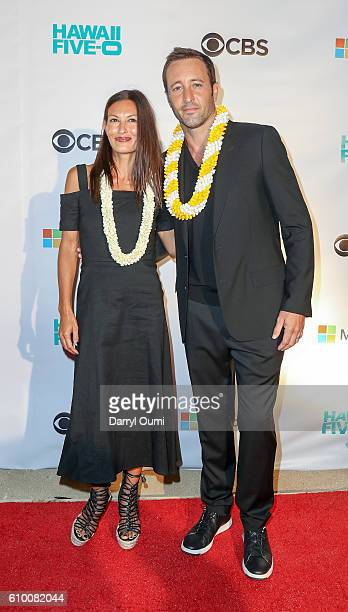 Actor Alex O'Loughin and his wife Malia Jones arrive at the CBS 'Hawaii Five0' Sunset On The Beach Season 7 Premier Event at Queen's Surf Beach on...