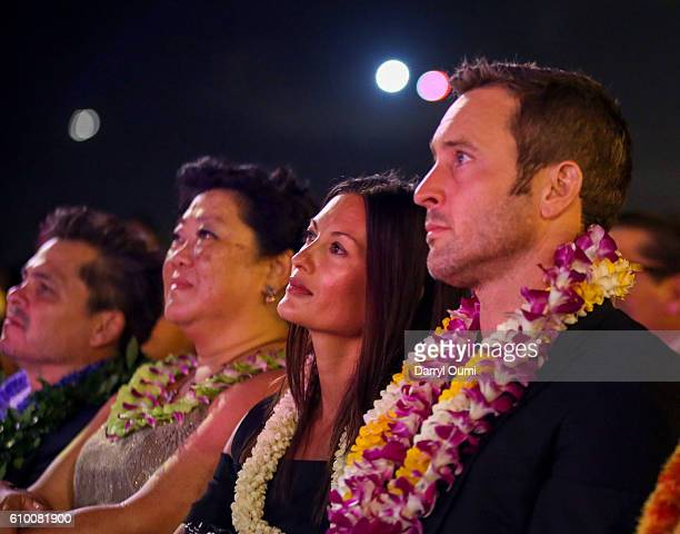 Actor Alex O'Loughlin and his wife Malia Jones at the CBS 'Hawaii Five0' Sunset On The Beach Season 7 Premier Event at Queen's Surf Beach on...