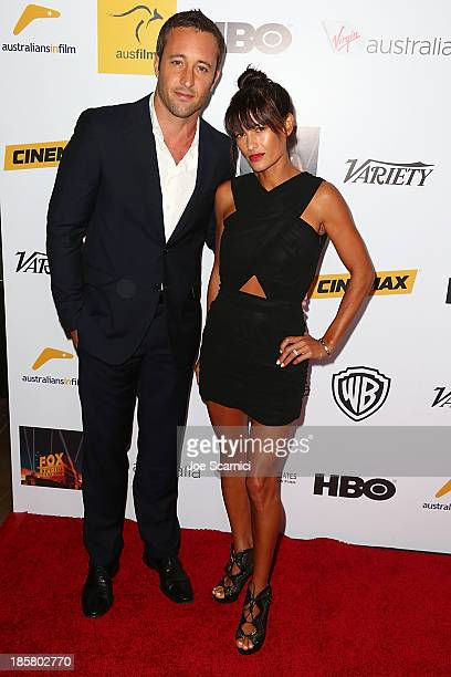 Actor Alex O'Loughlin and surfer Malia Jones arrives at the Australians in film benefit dinner at InterContinental Hotel on October 24 2013 in...