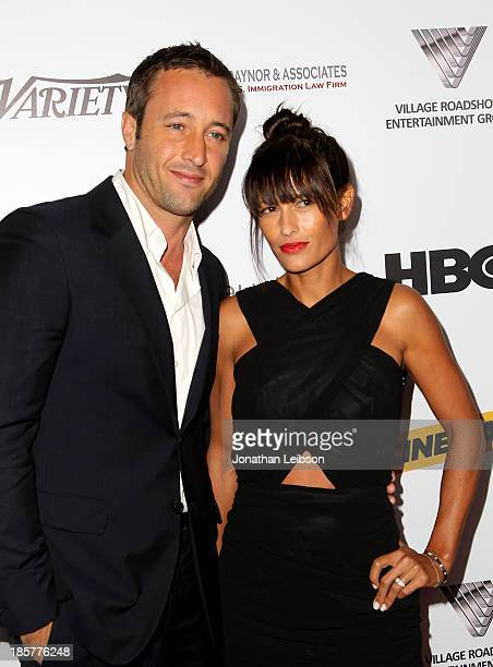 Actor Alex O'Loughlin and surfer Malia Jones attend the 2nd Annual Australians in Film Awards Gala at Intercontinental Hotel on October 24 2013 in...