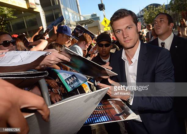Actor Alex Pettyfer arrives at the closing night gala premiere of 'Magic Mike' at the 2012 Los Angeles Film Festiva held at Regal Cinemas LA Live on...