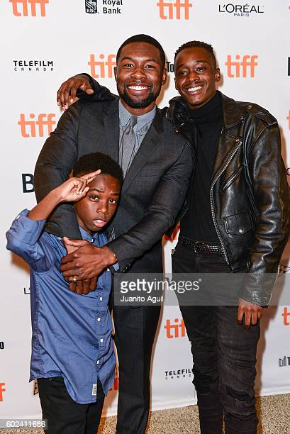 Actor Alex R Hibbert Actor Trevante Rhodes and Actor Ashton Sanders attend the premiere of 'Moonlight' during the 2016 Toronto International Film...