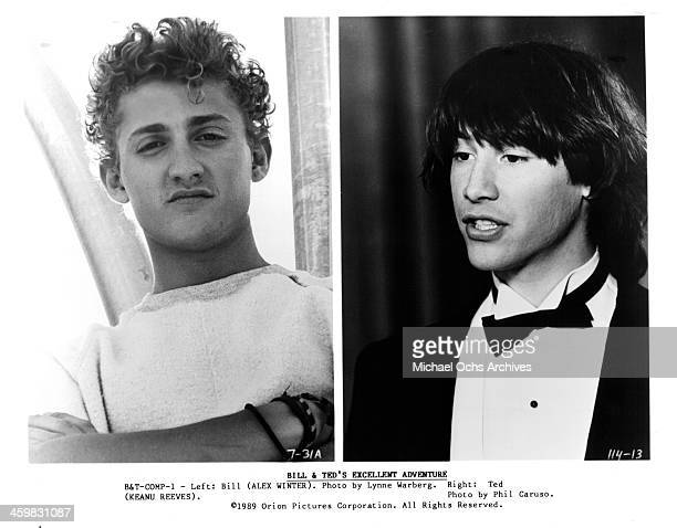 Actor Alex Winter on set actor Keanu Reeves on set of the movie 'Bill Ted's Excellent Adventure' circa 1989