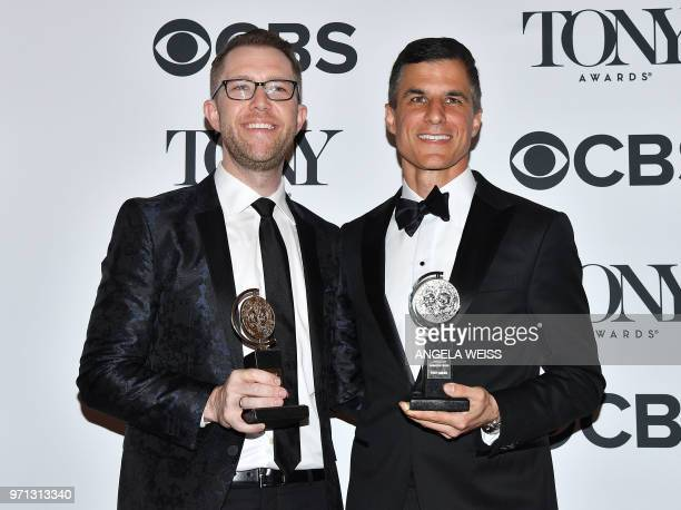 US actor Alex Wyse and US producer Ken Davenport winners of the award Best Revival of a Musical for 'Once on this island' pose in the 72nd Annual...