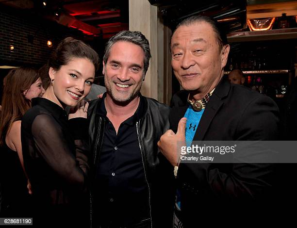 Actor Alexa Davalos Amazon Head of International Productions Morgan Wandell and actor CaryHiroyuki Tagawa attend the Amazon Red Carpet Season Two...