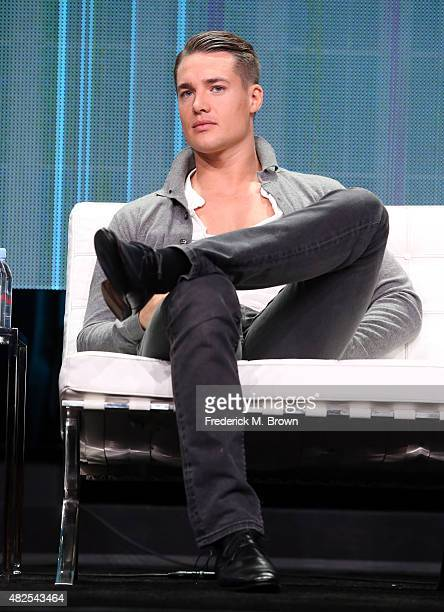 Actor Alexander Dreymon speaks onstage during the 'The Last Kingdom' panel discussion at the BBC America portion of the 2015 Summer TCA Tour at The...