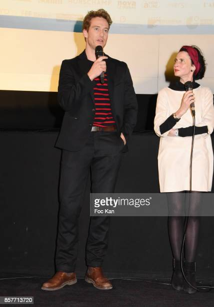 Actor Alexander Fehling and translator attend the Paris Premiere of 'Three Peaks' as part of 22 th German Film Festival Opening Ceremony Cocktail at...