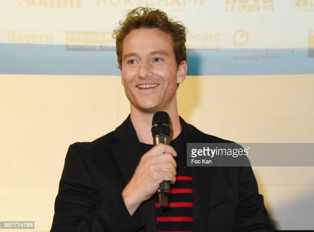 Actor Alexander Fehling attends the Paris Premiere of 'Three Peaks' as part of 22 th German Film Festival Opening Ceremony Cocktail at L'Arlequin on...