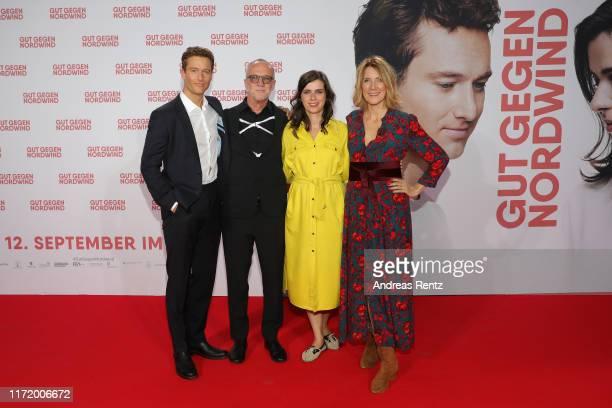 Actor Alexander Fehling author Daniel Glattauer actress Nora Tschirner and director Vanessa Jopp attend the world premiere of the movie Gut gegen...