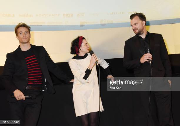 Actor Alexander Fehling guest translator and director Jan Zabail attend the Paris Premiere of 'Three Peaks' as part of 22 th German Film Festival...