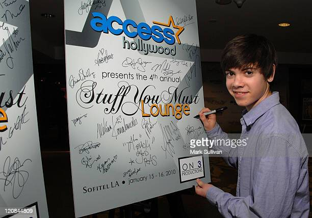 Actor Alexander Gould attends Access Hollywood 'Stuff You Must' Lounge Produced by On 3 Productions Celebrating the Golden Globes Day 1 at Sofitel...