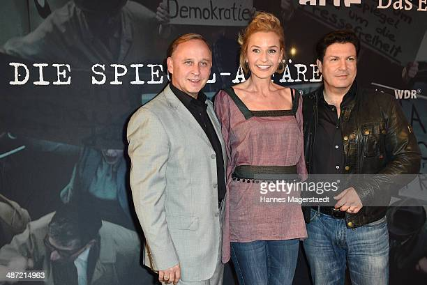 Actor Alexander Held Franziska Schlattner and Francis FultonSmith attend 'Die SpiegelAffaere' Preview at Gloria Palast on April 28 2014 in Munich...