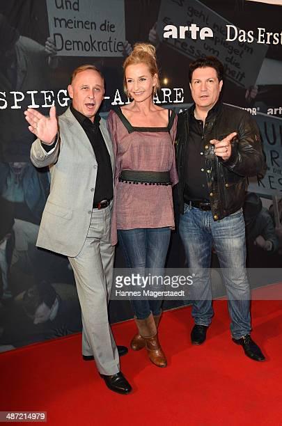 Actor Alexander Held Franziska Schlattner and Francis FultonSmith attend 'Die SpiegelAffaere' Preview at Gloria Palast on April 28 2014 in Munich...