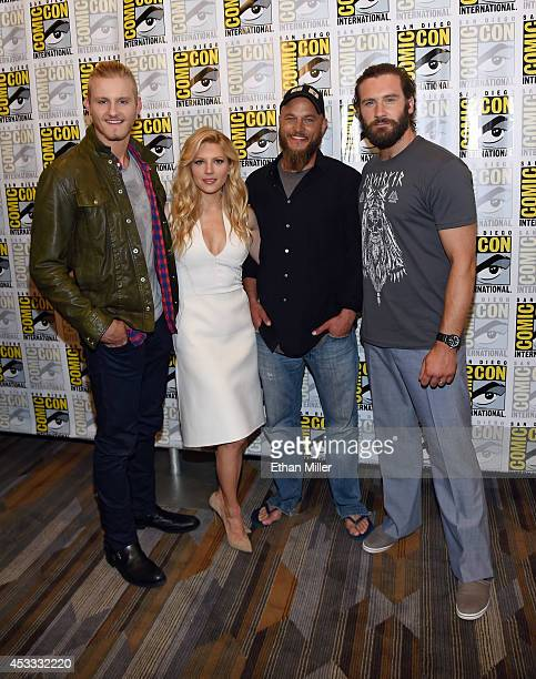 Actor Alexander Ludwig actress Katheryn Winnick and actors Travis Fimmel and Clive Standen attend a media room for the History series Vikings during...