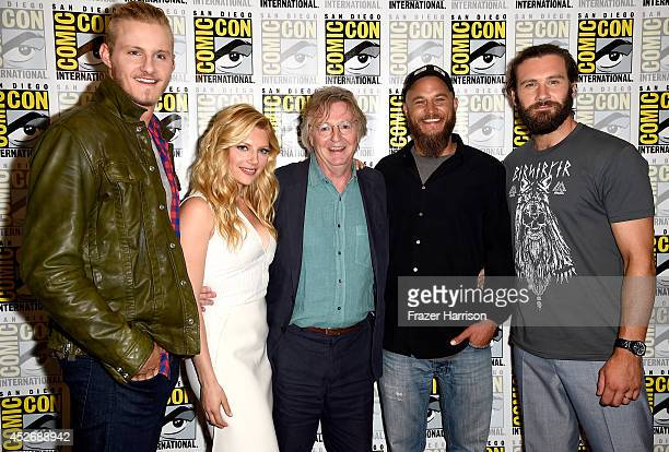 Actor Alexander Ludwig actress Katheryn Winnick producer Michael Hirst actor Travis Fimmel and actor Clive Standen attend the Vikings press line...