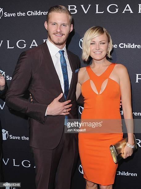 Actor Alexander Ludwig and actress Malin Akerman arrive at BVLGARI And Save The Children STOP THINK GIVE PreOscar Event at Spago on February 17 2015...