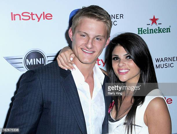 Actor Alexander Ludwig and Nicole Pedra attend the Warner Music Group 2013 Grammy celebration at Chateau Marmont on February 10 2013 in Los Angeles...