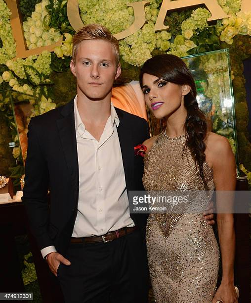 Actor Alexander Ludwig and wife Nicole Pedra attend the BVLGARI 'Decades Of Glamour' Oscar Party Hosted By Naomi Watts at Soho House on February 25...