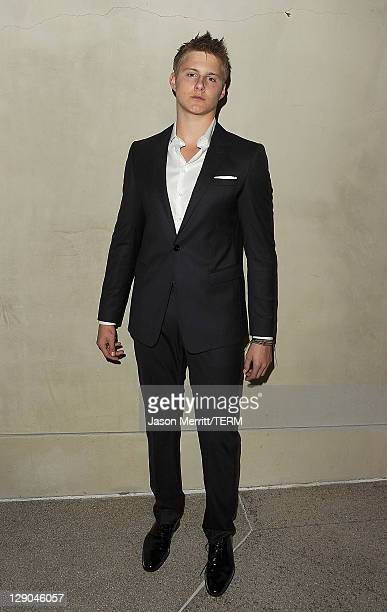 Actor Alexander Ludwig arrives at the Giorgio Armani / Vanity Fair private dinner on October 11 2011 in Los Angeles California