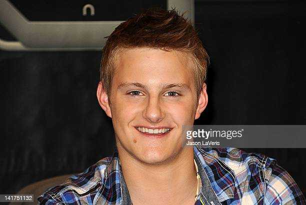 Actor Alexander Ludwig attends 'The Hunger Games' cast signing at Barnes Noble bookstore at The Grove on March 22 2012 in Los Angeles California