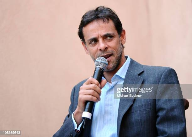 Actor Alexander Siddig speaks at the Guess Who's Coming to Karak Chats during the 2010 Doha Tribeca Film Festival held at the Brigitte Lacombe...