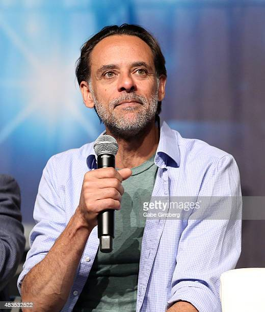 Actor Alexander Siddig speaks during the 'Star Trek Deep Space Nine Life' panel at the 14th annual official Star Trek convention at the Rio Hotel...