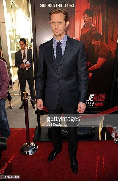 Actor Alexander Skarsgaard arrives at the HBO Premiere of True Blood Season 4 at ArcLight Cinemas Cinerama Dome on June 21 2011 in Hollywood...