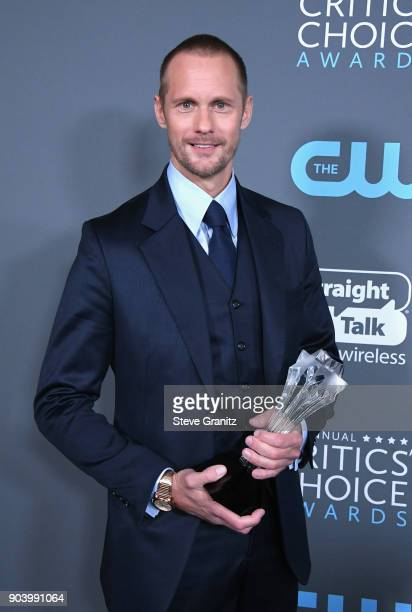 Actor Alexander Skarsgaard poses with the award for Best Supporting Actor in a Movie Made for TV or Limited Series in 'Big Little Lies' in the press...