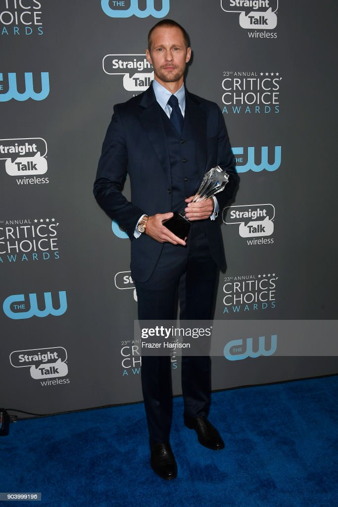 Actor Alexander Skarsgaard poses with the award for Best Supporting Actor in a Movie Made for TV or Limited Series for 'Big Little Lies' in the press room during The 23rd Annual Critics' Choice Awards at Barker Hangar on January 11, 2018 in Santa Monica, California.