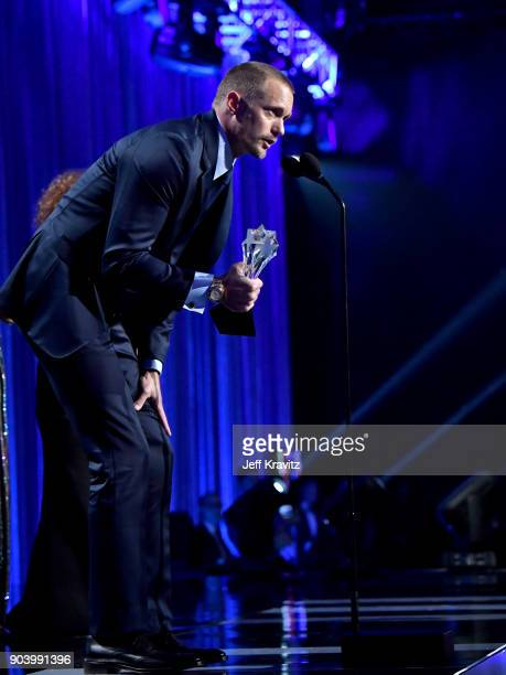 Actor Alexander Skarsgaard speaks on stage at The 23rd Annual Critics' Choice Awards at Barker Hangar on January 11 2018 in Santa Monica California