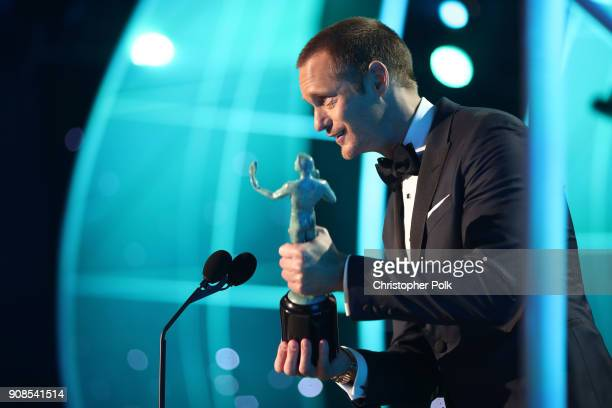 Actor Alexander Skarsgard accepts the award for 'Outstanding Performance by a Male Actor in a Television Movie or Limited Series' onstage during the...