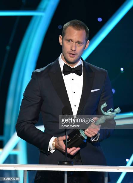 Actor Alexander Skarsgard accepts the Outstanding Performance by a Male Actor in a Television Movie or Limited Series award for 'Big Little Lies'...