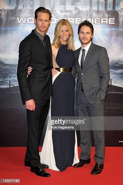 Actor Alexander Skarsgard Actress Brooklyn Decker and Actor Taylor Kitsch attend the 'Battleship' Japan Premiere at International Yoyogi first...