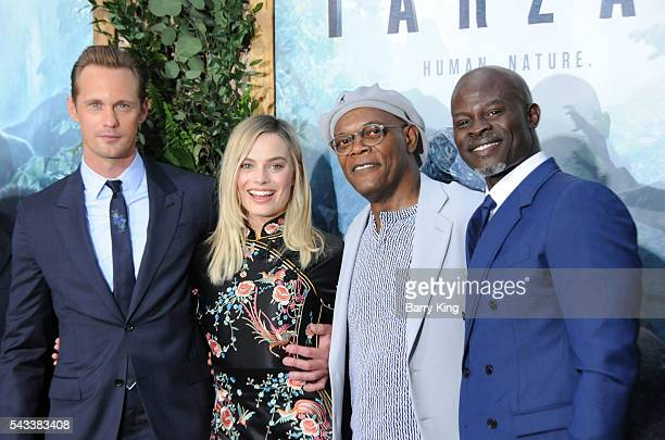 Actor Alexander Skarsgard actress Margot Robbie and actors Samuel L Jackson and Djimon Hounsou attend the premiere of Warner Bros Pictures' 'The...