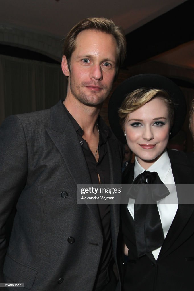 Actor Alexander Skarsgard and Actress Evan Rachel Wood attend 'A Dangerous Method' party hosted by GREY GOOSE Vodka at Soho House Pop Up Club during the 2011 Toronto International Film Festival on September 10, 2011 in Toronto, Canada.