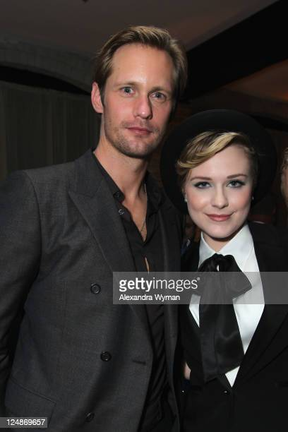 Actor Alexander Skarsgard and Actress Evan Rachel Wood attend A Dangerous Method party hosted by GREY GOOSE Vodka at Soho House Pop Up Club during...