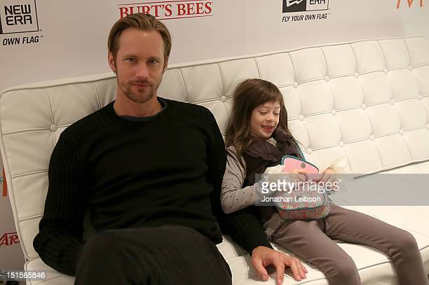 Actor Alexander Skarsgard and Actress Onata Aprile at Variety Studio presented by Moroccanoil on Day 1 at Holt Renfrew Toronto during the 2012...