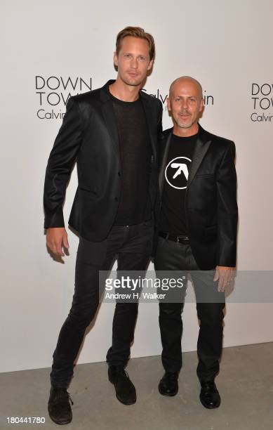 Actor Alexander Skarsgard and designer Italo Zucchelli attend the Calvin Klein Collection post fashion show event during MercedesBenz Fashion Week...