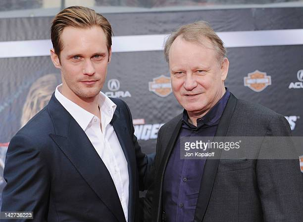 """Actor Alexander Skarsgard and father actor Stellan Skarsgard arrive at the Los Angeles Premiere of """"The Avengers"""" at the El Capitan Theatre on April..."""